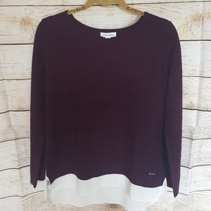 Calvin Klein 2fer Top, Plum with Ivory, Sx M